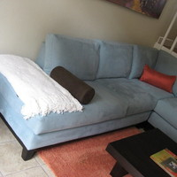 Baby Blue Microsuede Sectional Couch