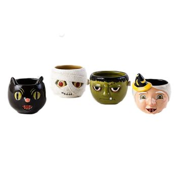 One Hundred 80 Degrees Halloween Characters Mugs (Set/4)