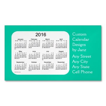 2016 Aqua Marine Business Calendar by Janz Magnet Magnetic Business Cards (Pack Of 25)