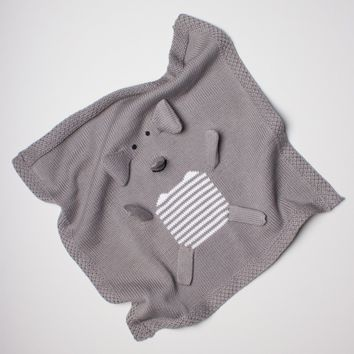 "Estella Organic Cotton Lovey or Baby Security Blanket - Gray Elephant 14"" x 14"""