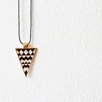Black and White and Golden Chevron Triangle Geometric Pendant Necklace