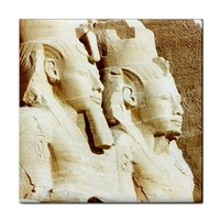 Abu Simbel Ancient Egypt Pharoah Statue Ceramic Tile Trivet