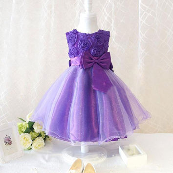 Fashion Kids Baby Chiffon Flower Bowknot Party Dress Formal Dress Puff Dresses Alternative Measures - Brides & Bridesmaids - Wedding, Bridal, Prom, Formal Gown