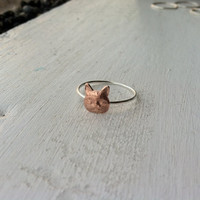 Tiny Little Cat Sterling Silver Stacking Ring - Brass on Silver - custom made to order