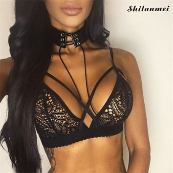 Women 2017 Summer Sexy Black Lace Bralette Top Gothic Brassiere Out Floral Lace Bras Hollow Sexy Bh Push Up Intimate Underwear