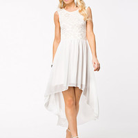 LACE V BACK CHIFFON HIGH LOW DRESS