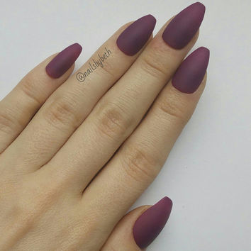 Matte Purple Long Coffin False Nails Full Set 20 Press-On Full Cover Made in UK Handmade Ballerina