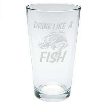 Drink Like A Fish Redfish Red Drum Etched Pint Glass