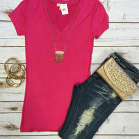 Basic V-Neck Tee: Fucsia