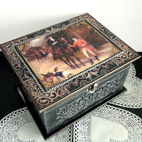 Big Hand painted antique jewelry box, Black silver box, Victorian style jewelry box, rococo style box, black brown and silver  trinket box