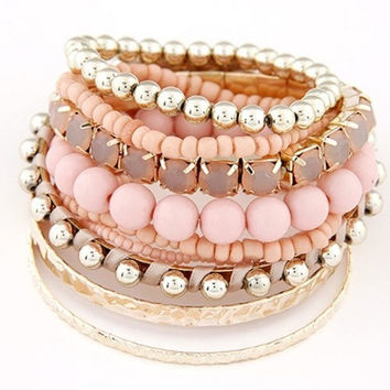 9PCS Women's Beads Multi-layer Bangle Bracelets = 1841740868