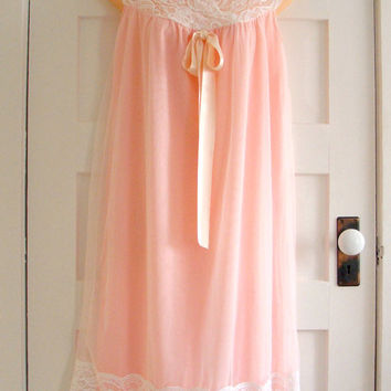 Vintage 60s Aristocraft Pink Nightgown with Chiffon Overlay