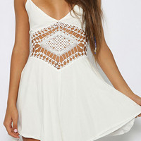White Crochet Boho Summer Dress
