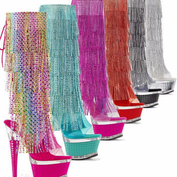 Illusion 2017 Chrome Rhinestone Facet Fringe Platform Knee Boot