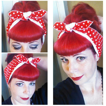 Red white polka dot & White WIDE double sided Headwrap Bandana Hair Bow Tie 1950s Vintage Style - Rockabilly - Pin Up - For Women, Teens