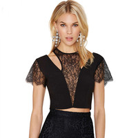 Black Sheer Mesh Cutout Lace Spliced Crop Top