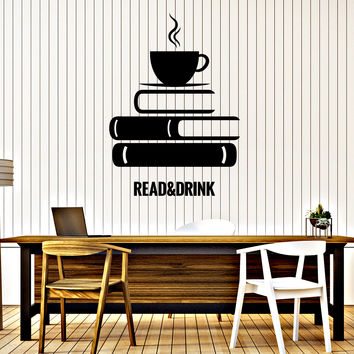 Wall Vinyl Decal Book Coffee Reading Room Bookstore Interior Decor Unique Gift z4653