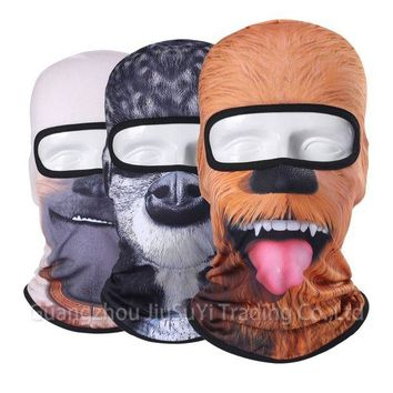 DCCKH6B 3D Animal Face Mask Bicycle Balaclava Motorcycle Hats Winter Warmer Party Halloween Full Face Mask Cat Dog