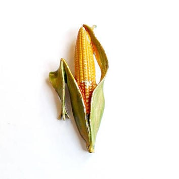Vintage JJ Ear of Corn Brooch - Signed Piece - Vegetable Cob Figural - Farming Broach - Enamel Paint Kitsch - Jonette Jewelry - VTG Unusual