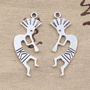 15pcs Charms native american kokopelli 38*14mm Antique Silver Plated Pendants Making DIY Handmade Tibetan Silver Jewelry