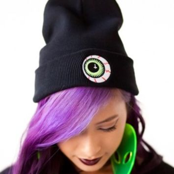 Eye Ball Black Beanie-LAST ONE