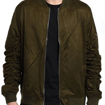 Suede Jacket in Olive