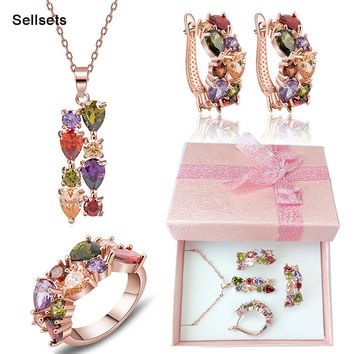 Free Shipping Ring Size 6-9  Rose Gold Plated Multicolor Zircon Necklace Earring Set Cubic Zirconia Diamond Women Jewelry Sets