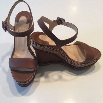 ONETOW Christian Louboutin Brown Platform Espadrille Wedge Sandals 38