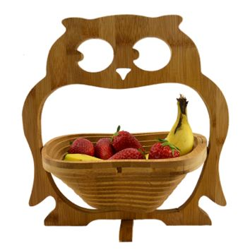 Foldable Bamboo Fruit Owl Basket