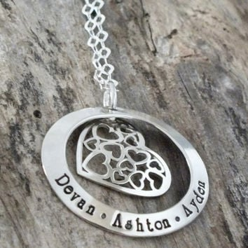 I Carry You All In My Heart | Necklace Personalized | With Children's Names | Mom Necklace | Custom Engraved | Cut out hearts