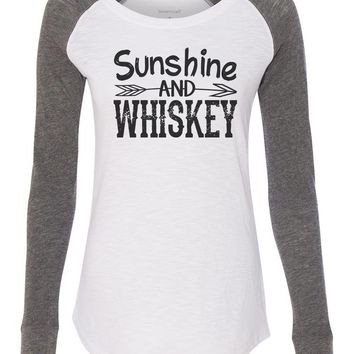 "Womens ""Sunshine And Whiskey"" Long Sleeve Elbow Patch Contrast Shirt"