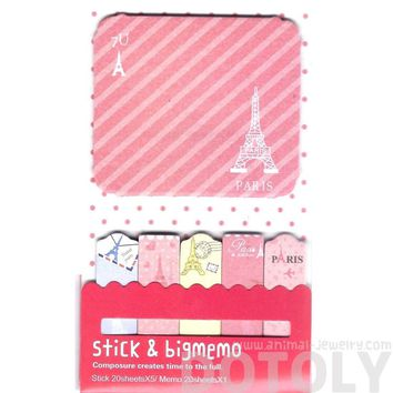 Large Eiffel Tower Print Travel Themed Memo Pad Post-it Index Sticky Bookmark Tabs in Pink