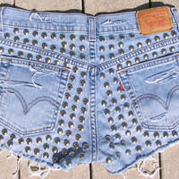 FREE SHIPPING studded high waisted denim shorts