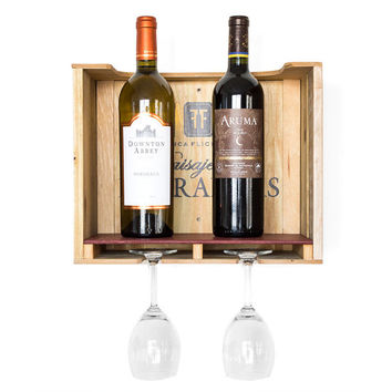 Wood Wine Rack -  Wood Wine Box - Wine Holder -  Rustic Wine Rack - Small Wall Wine Rack - Wine Storage - Unique Wine Rack - Reclaimed Wood