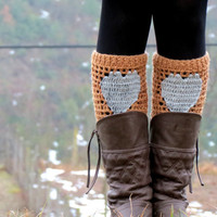 Tan Gray Short Heart Knit Boot Cuffs. Love Heart Short Leg Warmers. Crochet heart Boot Cuffs. Legwear beige gray