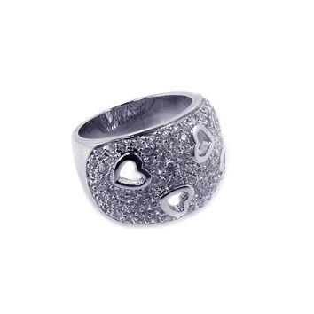 .925 Sterling Silver Rhodium Plated Clear Pave Set Cubic Zirconia Heart Dome Ring: Size:5