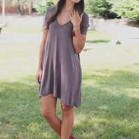 Adventures Await Tunic - Charcoal