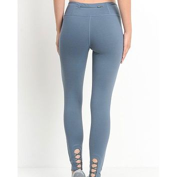 active hearts - crisscross cutout accent active leggings - light teal blue