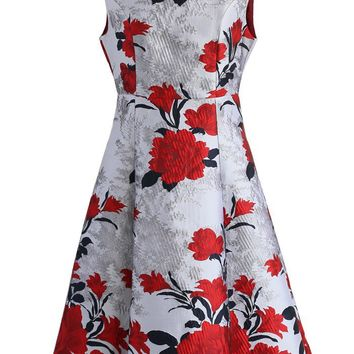 Flamboyancy Peony Jacquard Dress