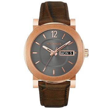 Wittnauer WN1002 Men's Adien Gunmetal Dial Rose Gold Steel Brown Leather Strap Watch