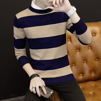 2017 Autumn New style Clothing Mens Sweaters Pullovers Knit Slim Regular Striped Pattern Basic Sweaters Youth fashion 3 color
