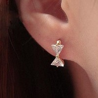 Cute Bow Rhinestone Mini Hoop Earrings - LilyFair Jewelry