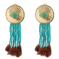 Aurélie Bidermann - Navajo Earrings with Turquoise and Pheasant Feathers