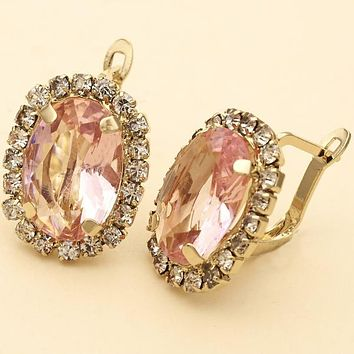 Gold Layered Women Flower Leverback Earring, with Rose Cubic Zirconia, by Folks Jewelry