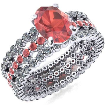 Lacy Oval Padparadscha Sapphire Full Eternity Padparadscha Sapphire and Diamond Accent Ring