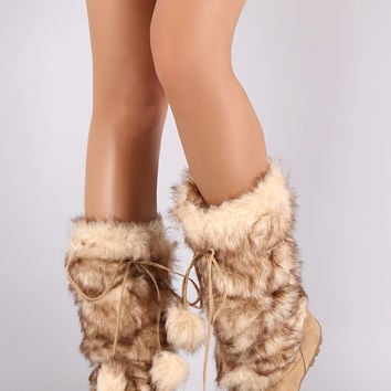 Faux Fur Strappy Pom Pom Suede Mid Calf Boots