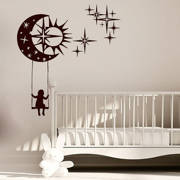 Wall Decals Child Swing Month Star Decal Vinyl Sticker Boy Cirl Nursery Bedroom Playroom Home Decor Art Murals MN404