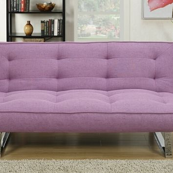 Nathaniel collection purple linen like fabric upholstered futon bed