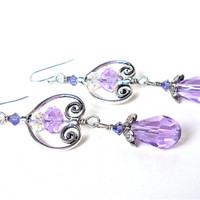 Long silver and purple crystal earrings - light colored pastel shimmery earrings - victorian inspired earrings by Sparkle City Jewelry