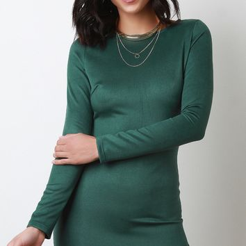 Vegan Suede Long Sleeves Tulip Bodycon Dress